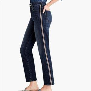 J Crew Metallic Side Stripe Vintage Straight Jeans